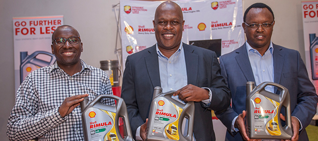 Vivo Energy Kenya MD Joe Muganda (centre)_ the company's Lubricants Sales and Marketing and Manager Stephen Gikonyo and Joseph Kahuko Commercial Manager Vivo Energy Kenya during the launch of Shell Rimula R6 LM Oil