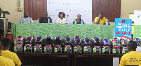 Vivo Energy Ghana donates helmets to motorcyclists in Accra